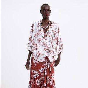 ZARA tie-front printed blouse
